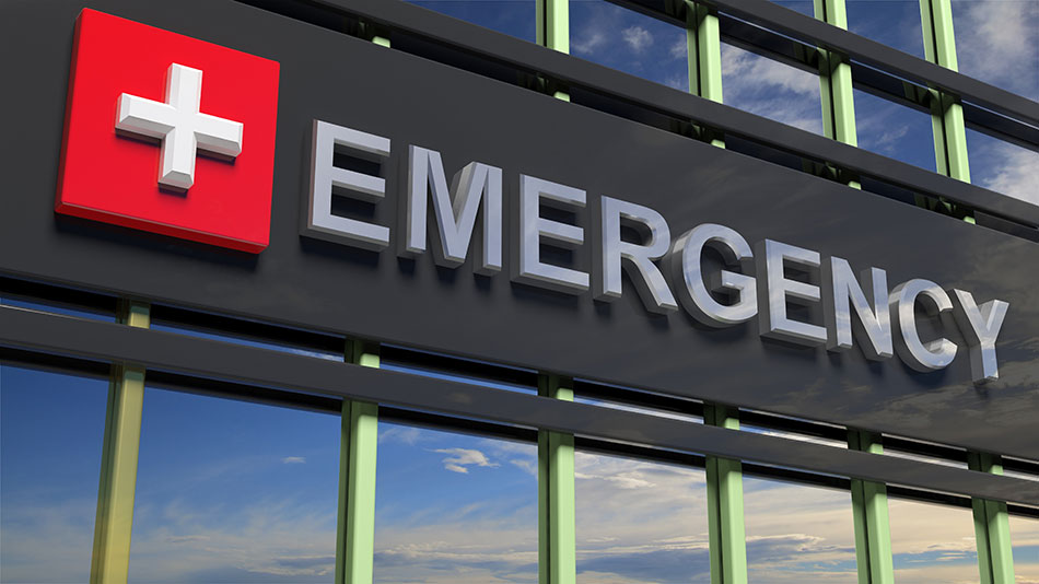 Emergency sign on hospital