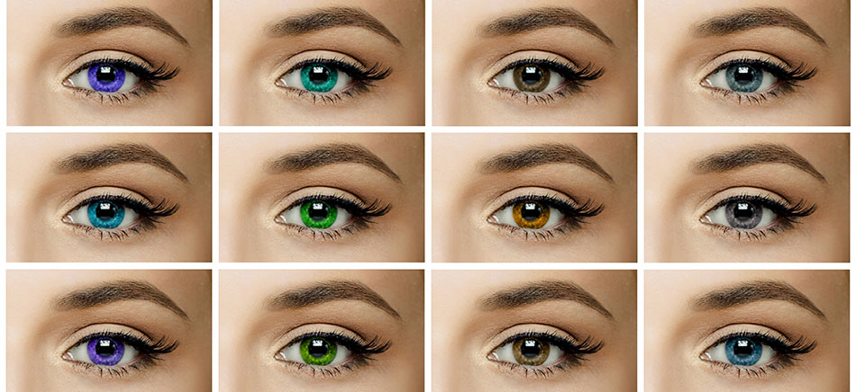 eyes with different color contact lenses