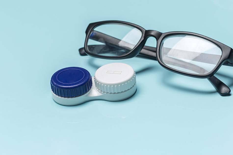 Glasses with daily contacts case