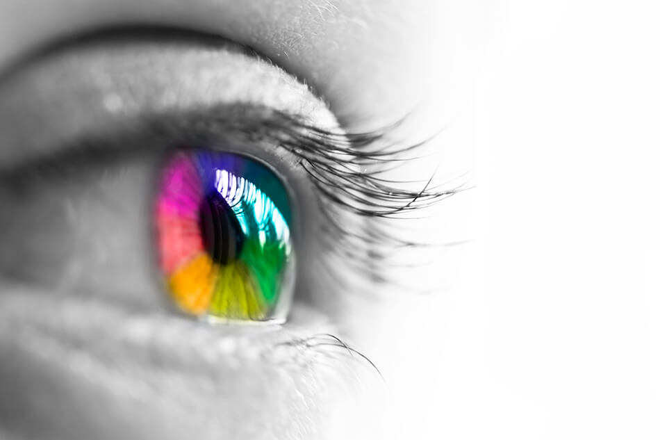 multicolored eye effect